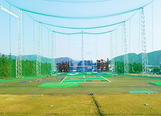 ゴルフ練習場での防球ネット例1