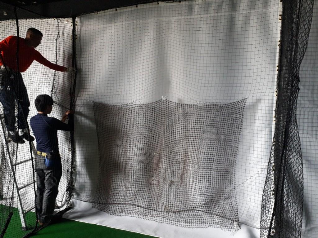 インドアゴルフ通過ネット張替工事
