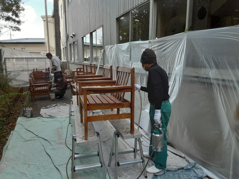 打席イス・テーブル塗装工事